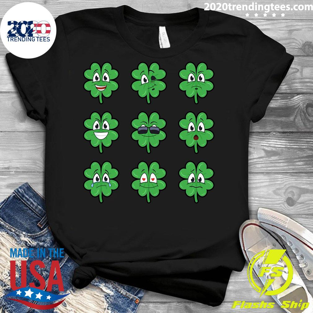 Clover Emojis Emoticons Boys Girls St. Patrick's Day Shirt Ladies tee