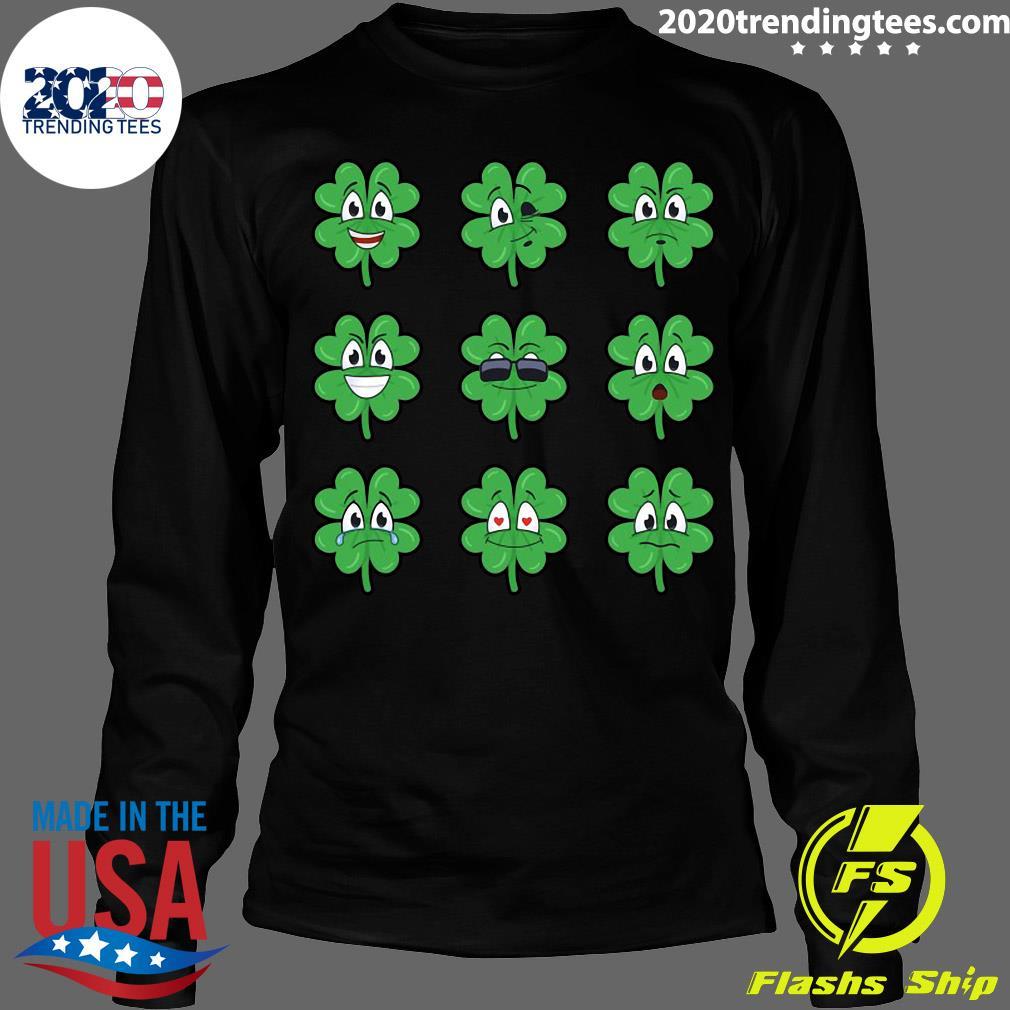 Clover Emojis Emoticons Boys Girls St. Patrick's Day Shirt Longsleeve