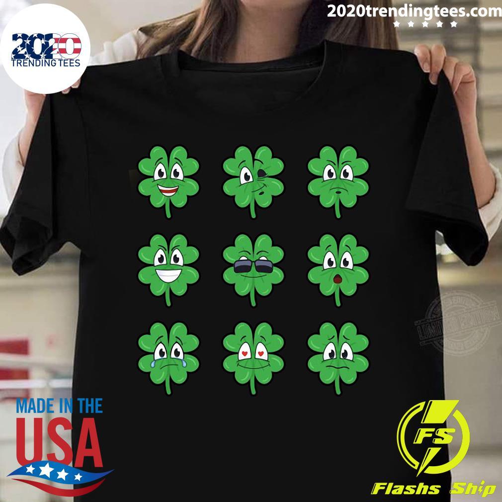 Clover Emojis Emoticons Boys Girls St. Patrick's Day Shirt