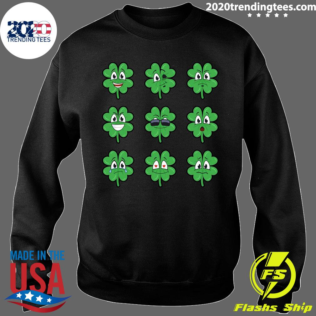 Clover Emojis Emoticons Boys Girls St. Patrick's Day Shirt Sweater