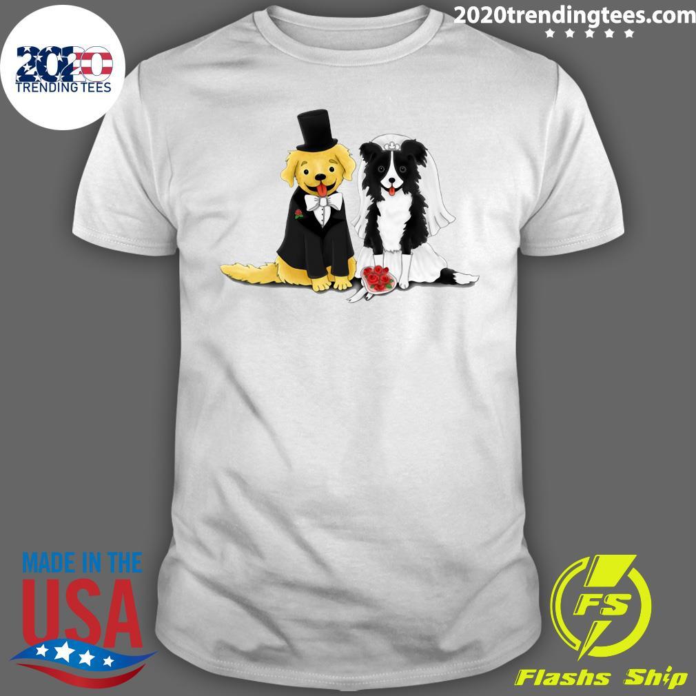 Dog Bride And Groom - Retriever And Collie Shirt