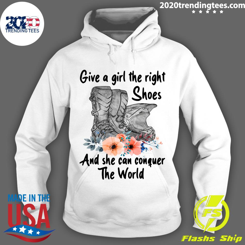Motocross Flower Give A Girl The Right Shoes And She Can Conquer The World Shirt Hoodie