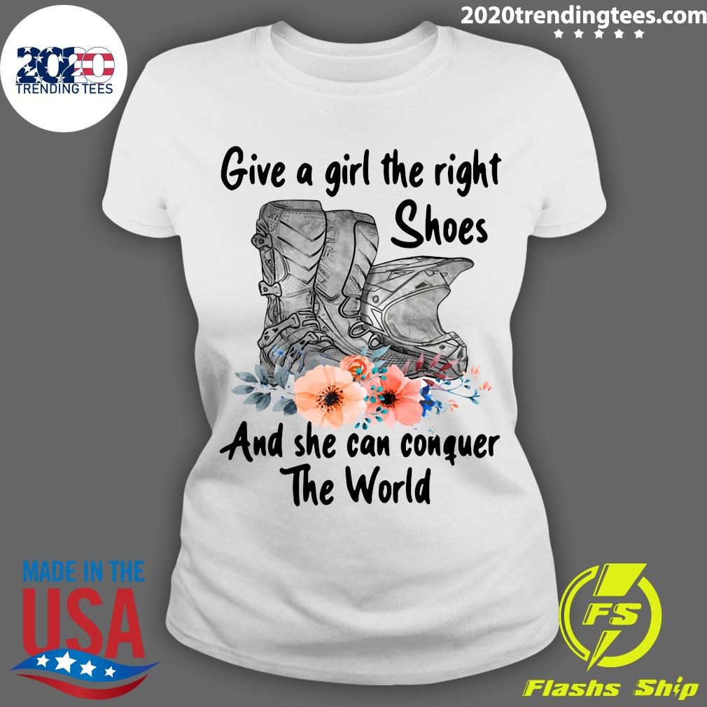 Motocross Flower Give A Girl The Right Shoes And She Can Conquer The World Shirt Ladies tee