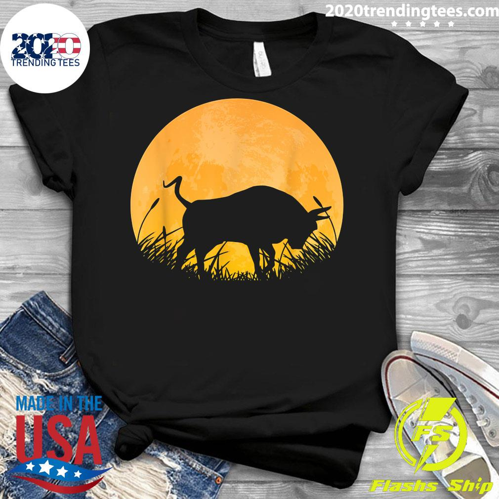 Ox Easy Halloween Outfit Cattle Oxen Moon Costume Vintage Shirt Ladies tee