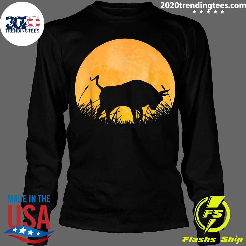 Ox Easy Halloween Outfit Cattle Oxen Moon Costume Vintage Shirt Longsleeve