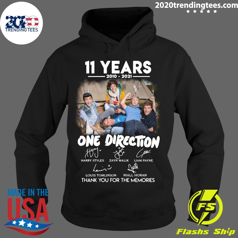 11 Years 2010 - 2021 One Direction Signatures Thank You For The Memories Shirt Hoodie
