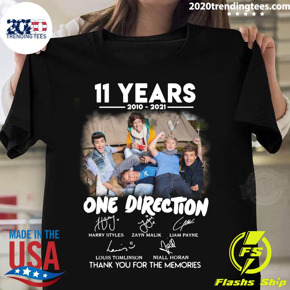 11 Years 2010 - 2021 One Direction Signatures Thank You For The Memories Shirt