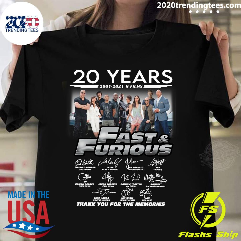 20 Years 2001 - 2021 9 Film Fast And Furious Signatures Thank You For The Memories Shirt