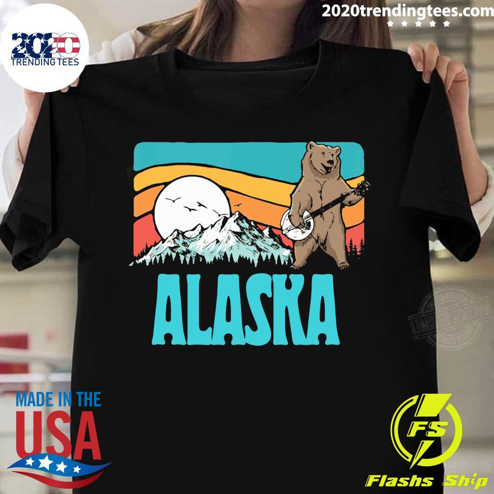 Alaska Mountains Bluegrass Banjo Bear Graphic Pullover Vintage Shirt