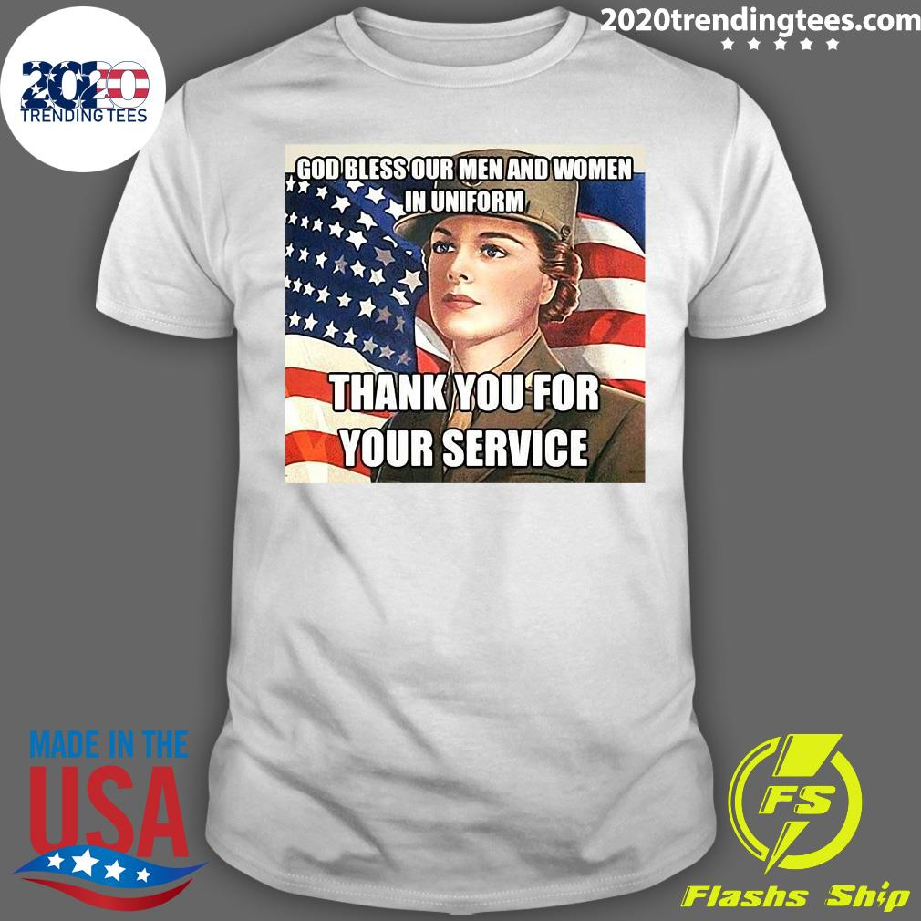 American Flag Girl God Bless Our Men And Women In Uniform Thank You For Your Service Shirt