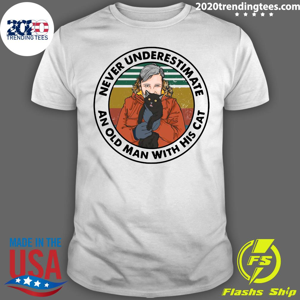 Girl Never Underestimate An Old Man With His Cat Vintage Shirt