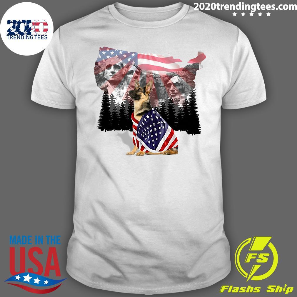 American Flag German Shepherd I'm From America Dog Shirt