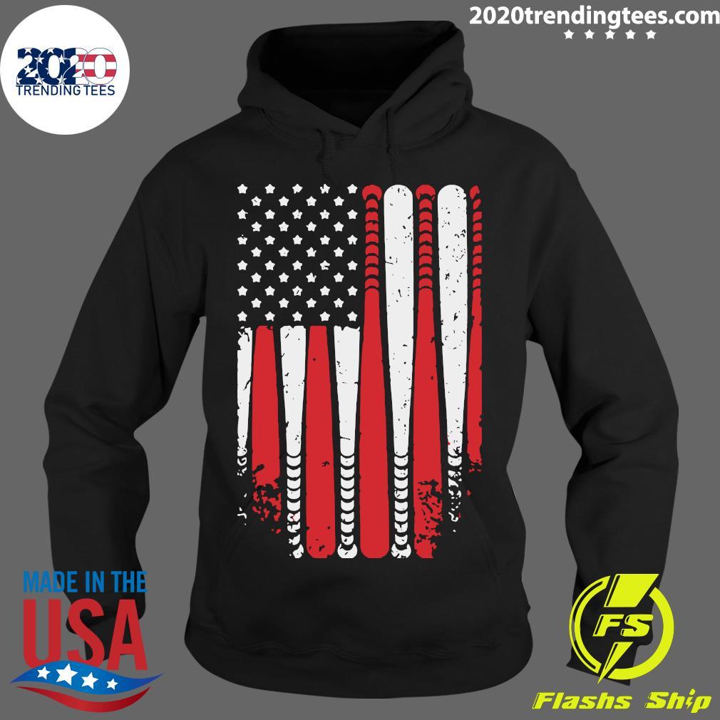 Baseball American Flag Shirt Hoodie