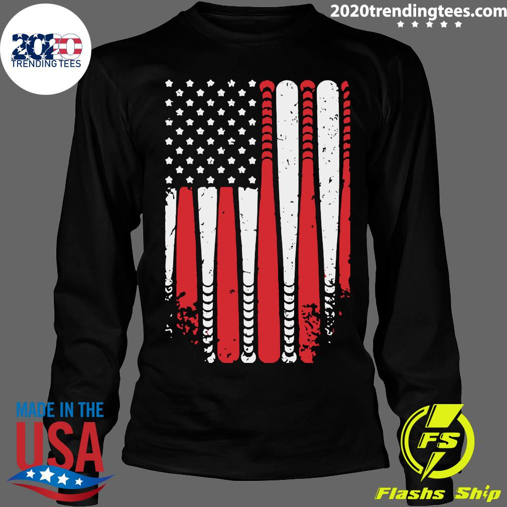Baseball American Flag Shirt Longsleeve