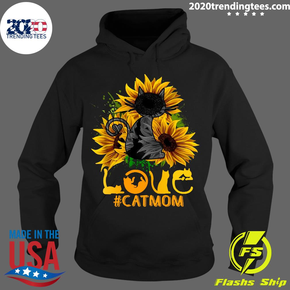 Flower Love Black Cat Mom Classic Shirt Hoodie