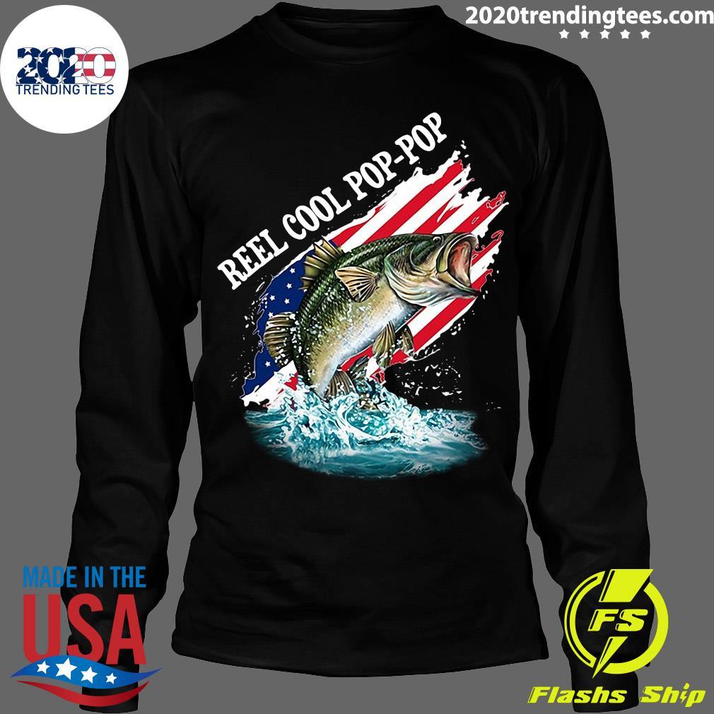 Reel Cool Pop-Pop American Flag Fishing Shirt Longsleeve