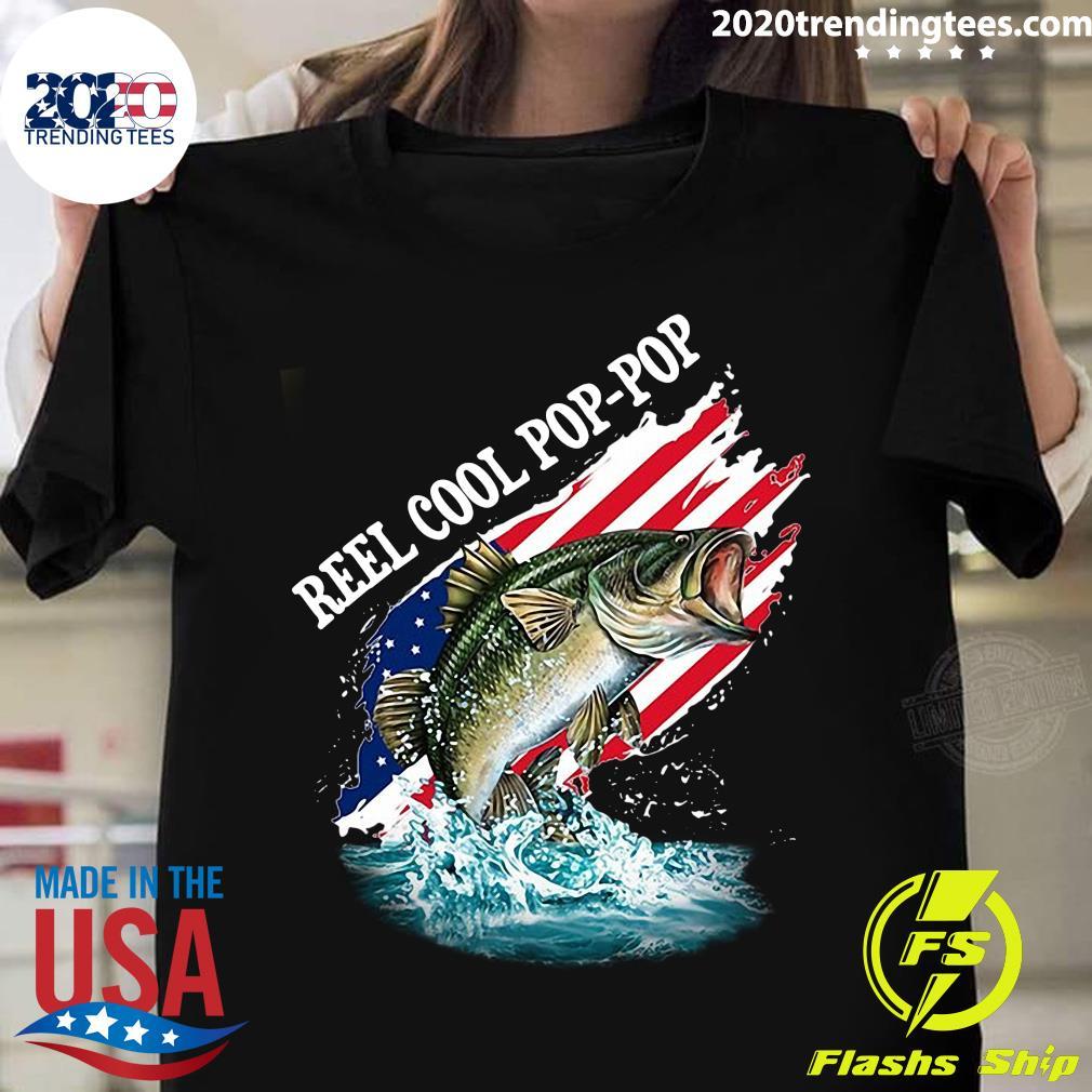 Reel Cool Pop-Pop American Flag Fishing Shirt