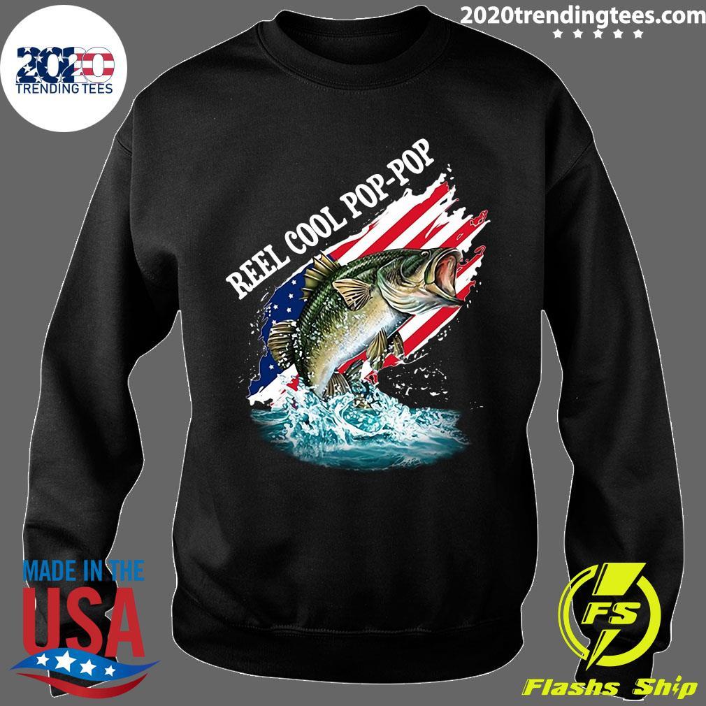 Reel Cool Pop-Pop American Flag Fishing Shirt Sweater