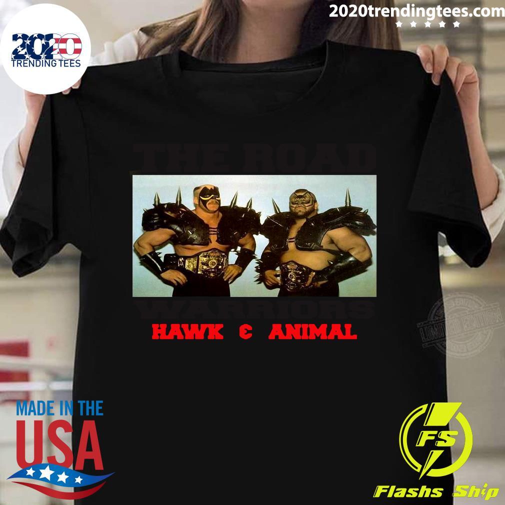 Official The Road Warriors Hawk And Animal Vintage T-shirt