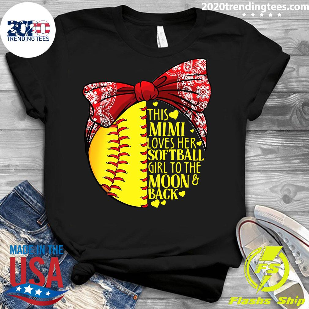 This Mimi Loves Her Softball Girl To The Moon And Back Shirt Ladies tee