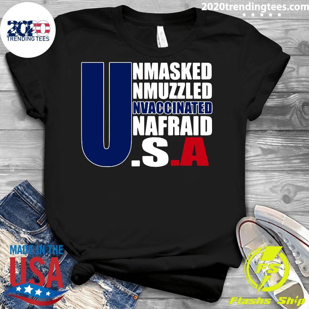 Unmasked Unmuzzled Unvaccinated Unafraid America Flag Shirt Ladies tee