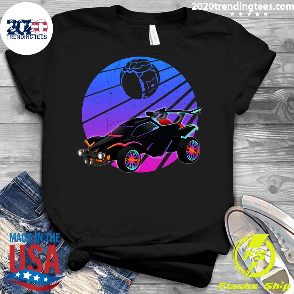 Vintage Rocket Soccer Car League Distressed Gamer Shirt Ladies tee