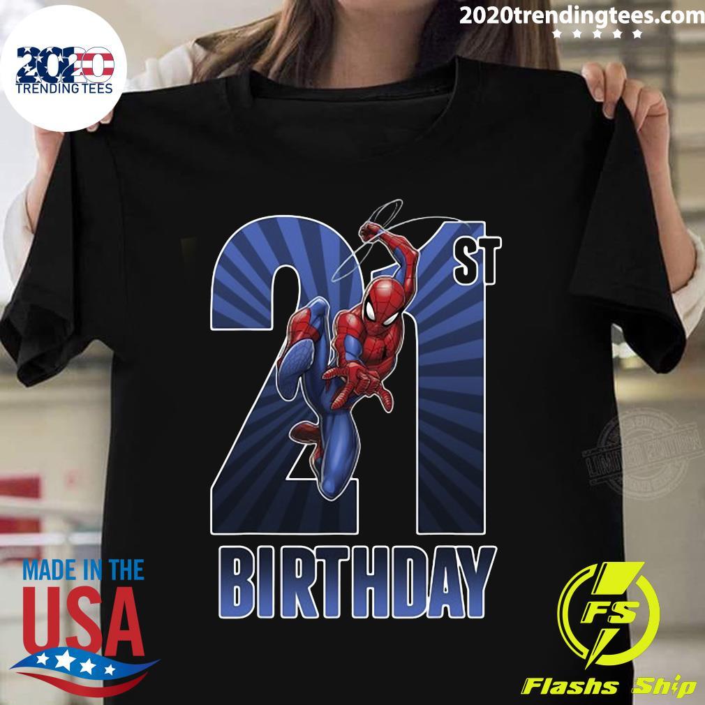 Marvel Spider-Man Swinging 21St Birthday Graphic Shirt