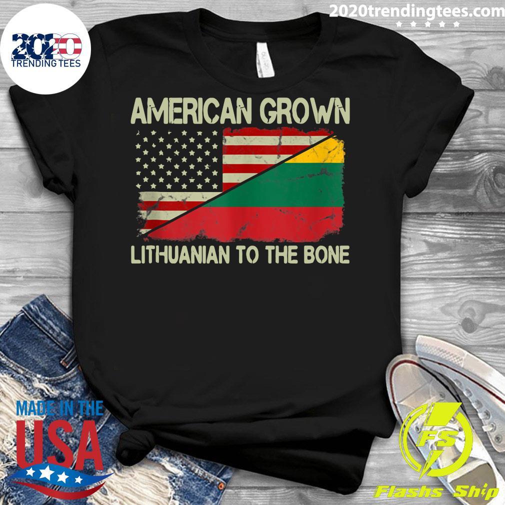 American Grown Lithuanian To The Bone US Lithuania Flag Shirt Ladies tee