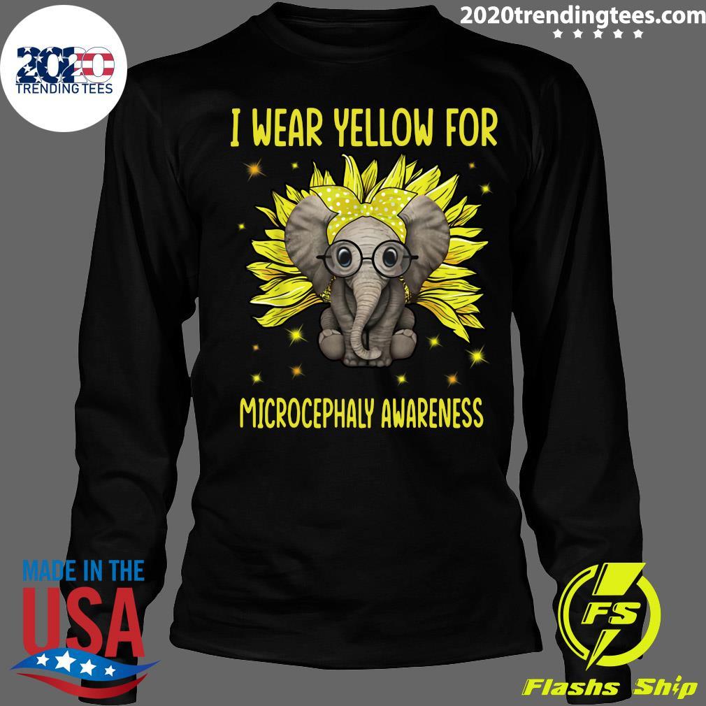 Elephant Sunflower I Wear For Yellow Microcephaly Awareness Shirt Longsleeve