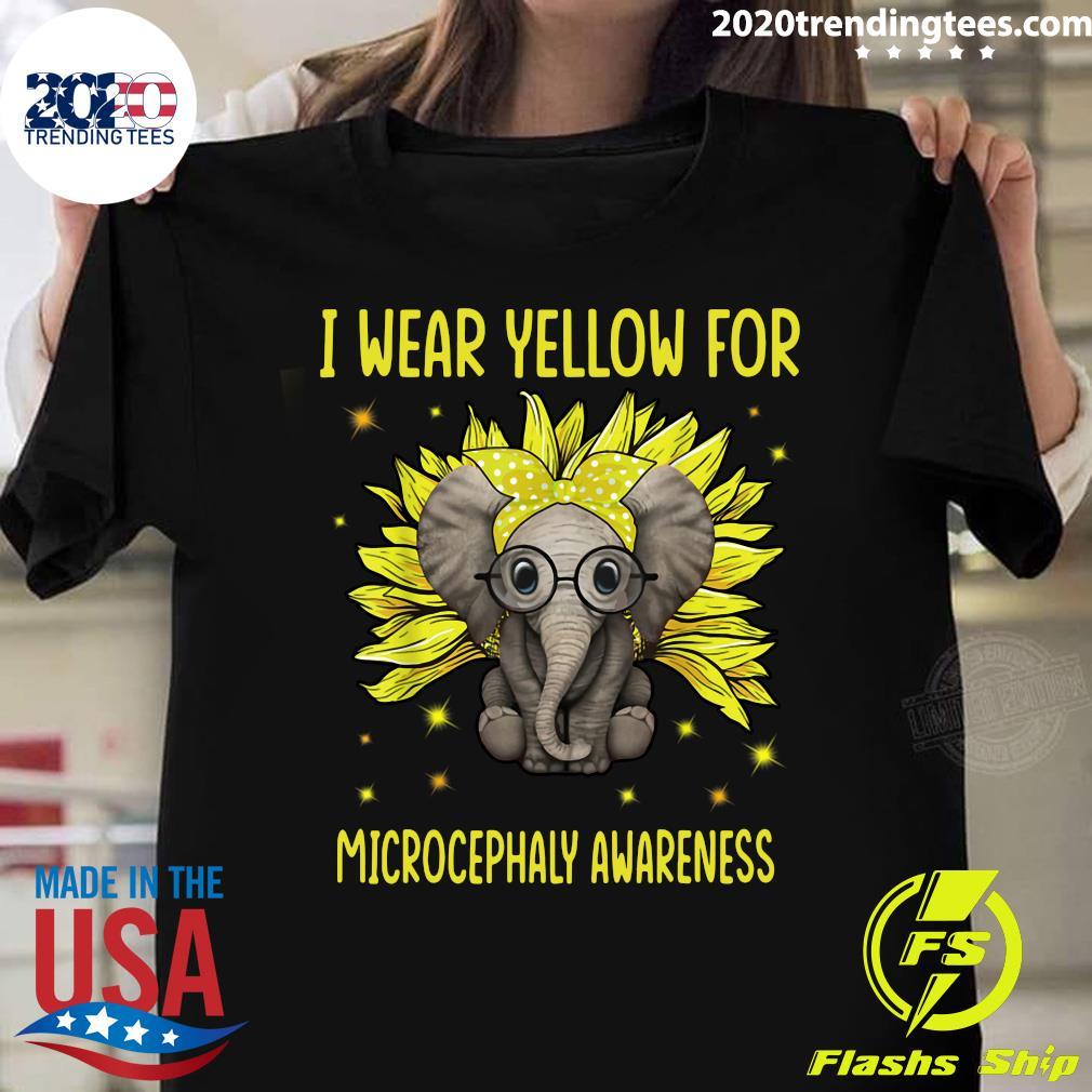 Elephant Sunflower I Wear For Yellow Microcephaly Awareness Shirt