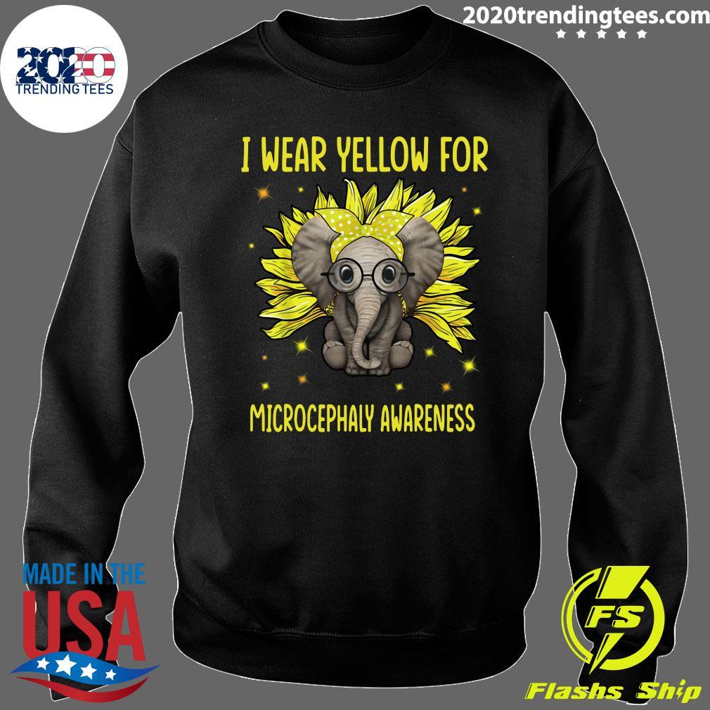 Elephant Sunflower I Wear For Yellow Microcephaly Awareness Shirt Sweater
