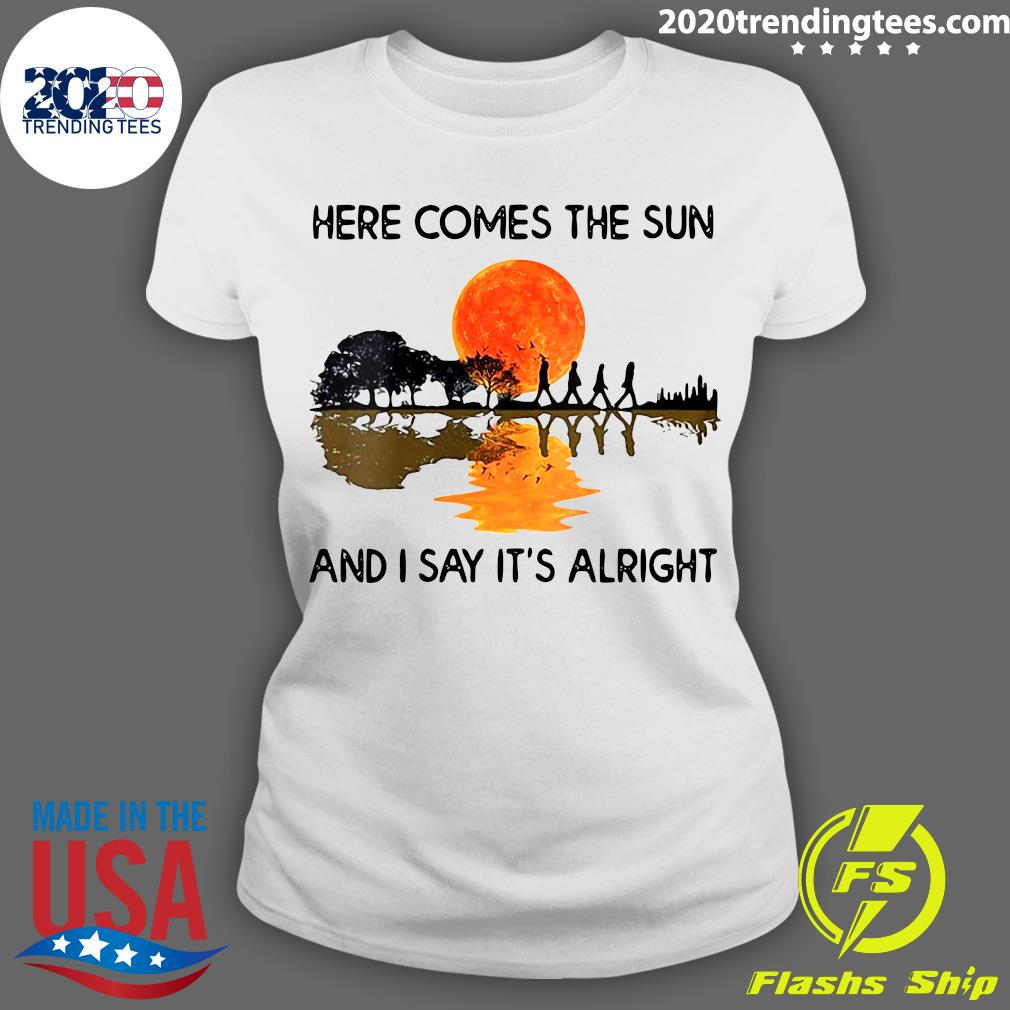 Here Comes The Sun And I Say It's Alright Guitar Graphic Shirt (2) Ladies tee