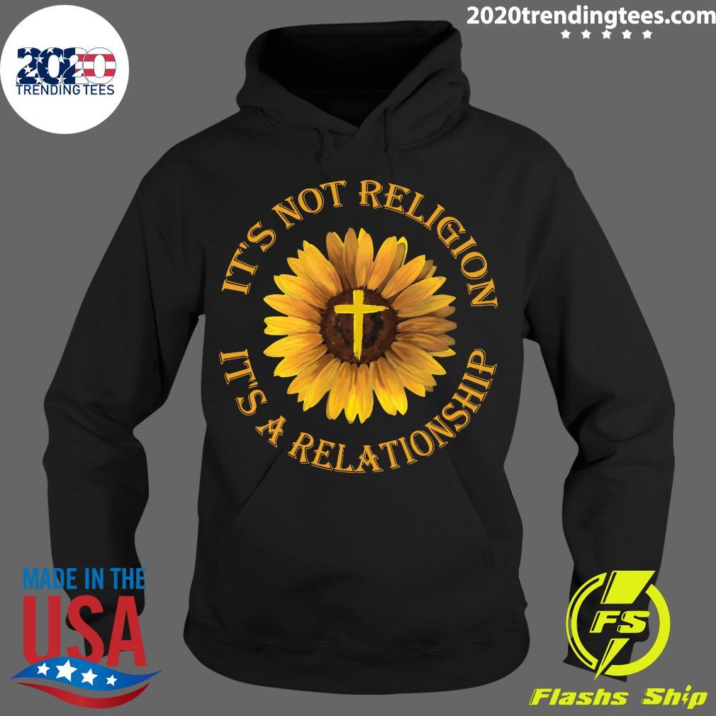 Sunflower It's Not Religion It's A Relationship Jesus Black Apparel Shirt Hoodie