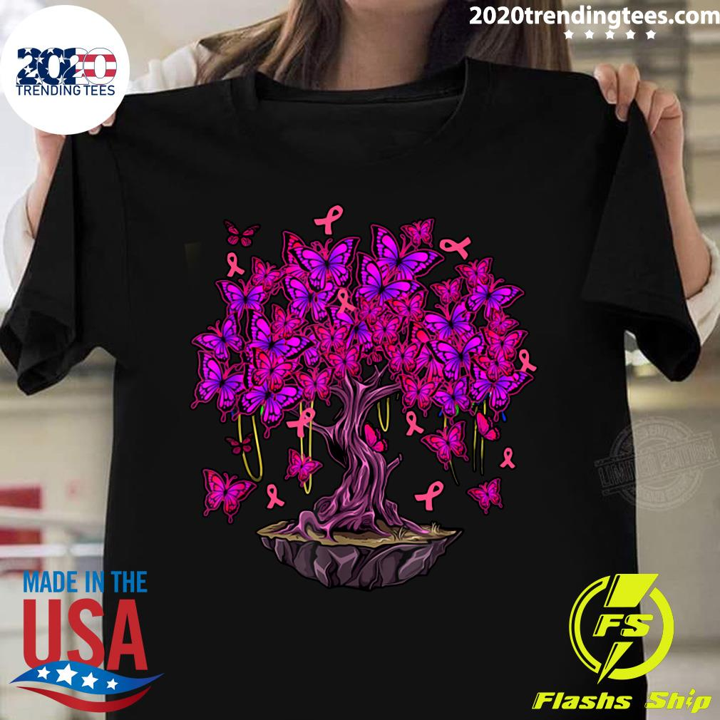 Butterfly Pink Ribbon Tree Breast Cancer Awareness Shirt Masswerks Store