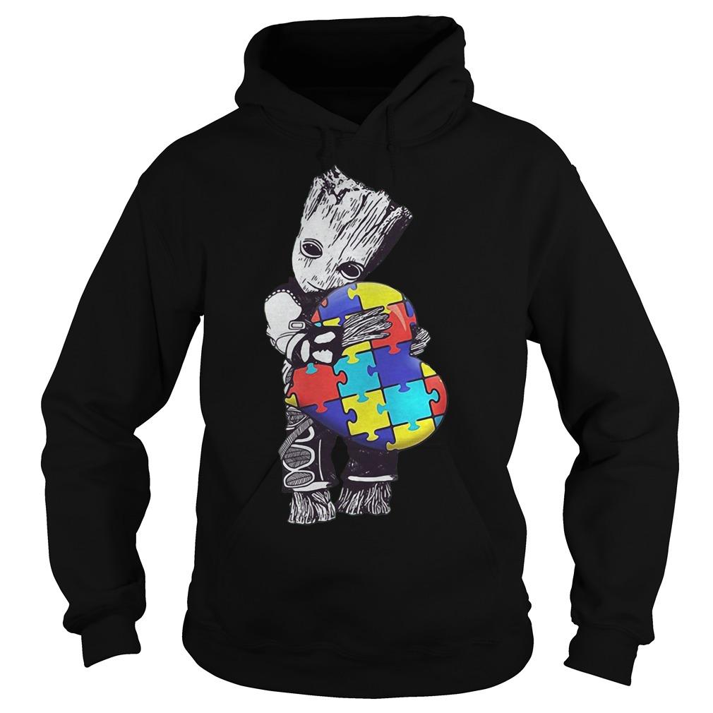 Baby Groot Hug Autism Heart Irish Patrick Day Hoodie