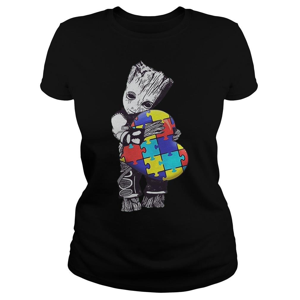 Baby Groot Hug Autism Heart Irish Patrick Day Ladies Shirt