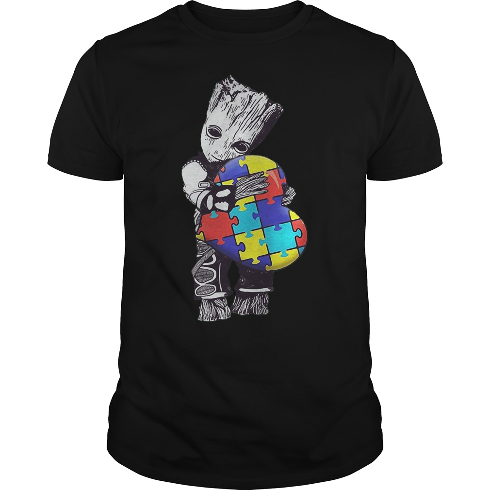 Baby Groot Hug Autism Heart Irish Patrick Day Shirt