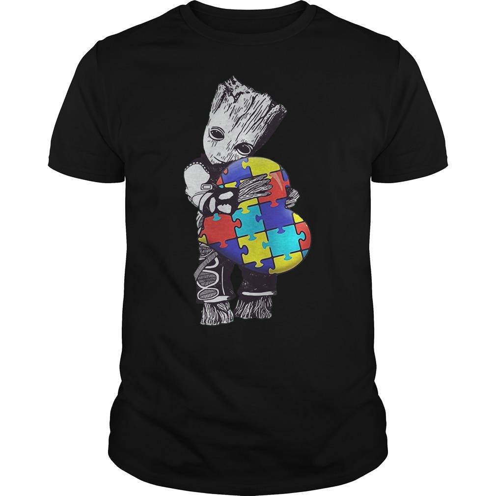 Baby Groot Hug Autism Heart Irish Patrick Day Shirt