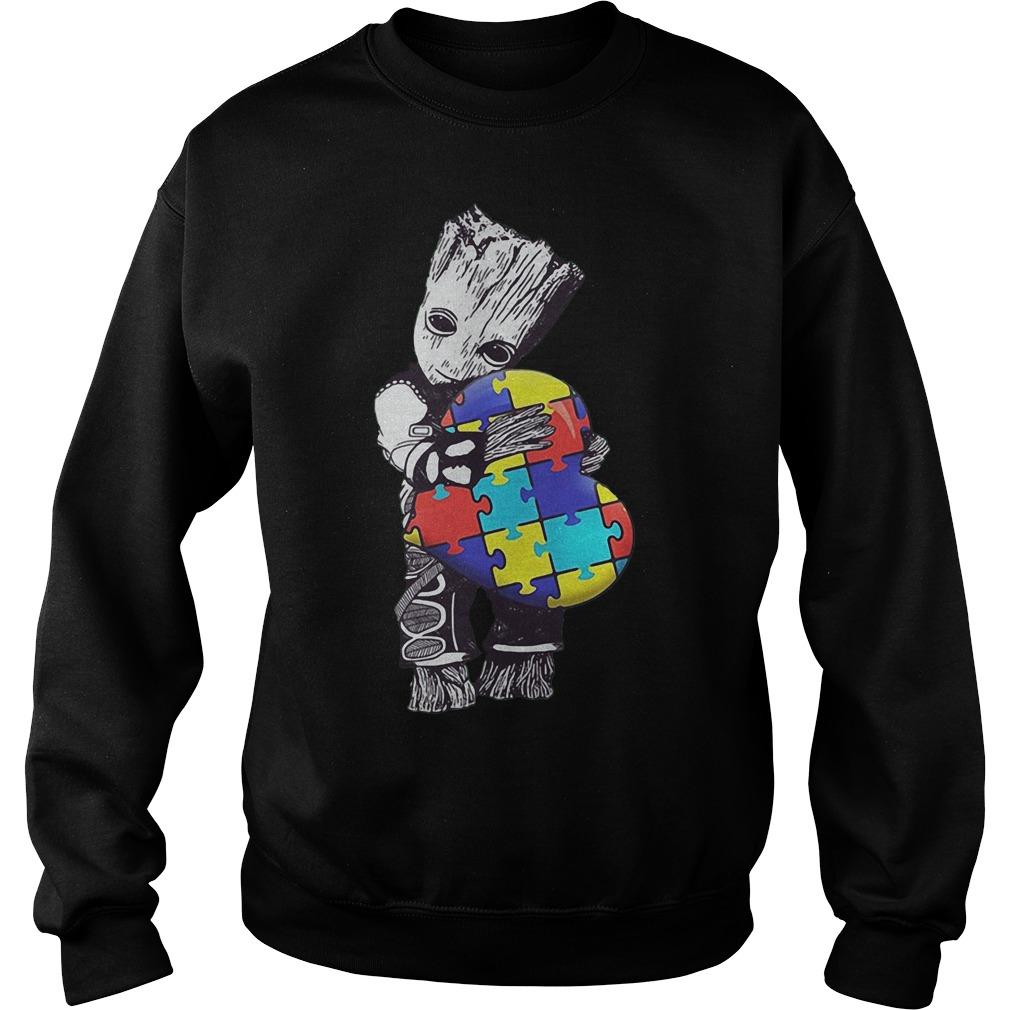 Baby Groot Hug Autism Heart Irish Patrick Day Sweater