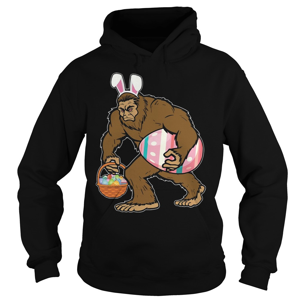 Bigfoot Sasquatch Hunting Easter Eggs Bunny Funny Hoodie