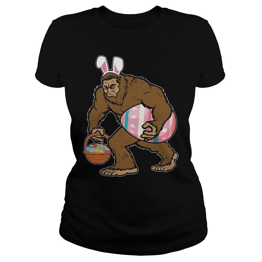 Bigfoot Sasquatch Hunting Easter Eggs Bunny Funny Ladies Shirt