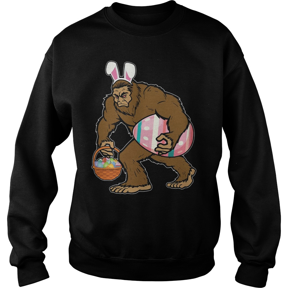 Bigfoot Sasquatch Hunting Easter Eggs Bunny Funny Sweater