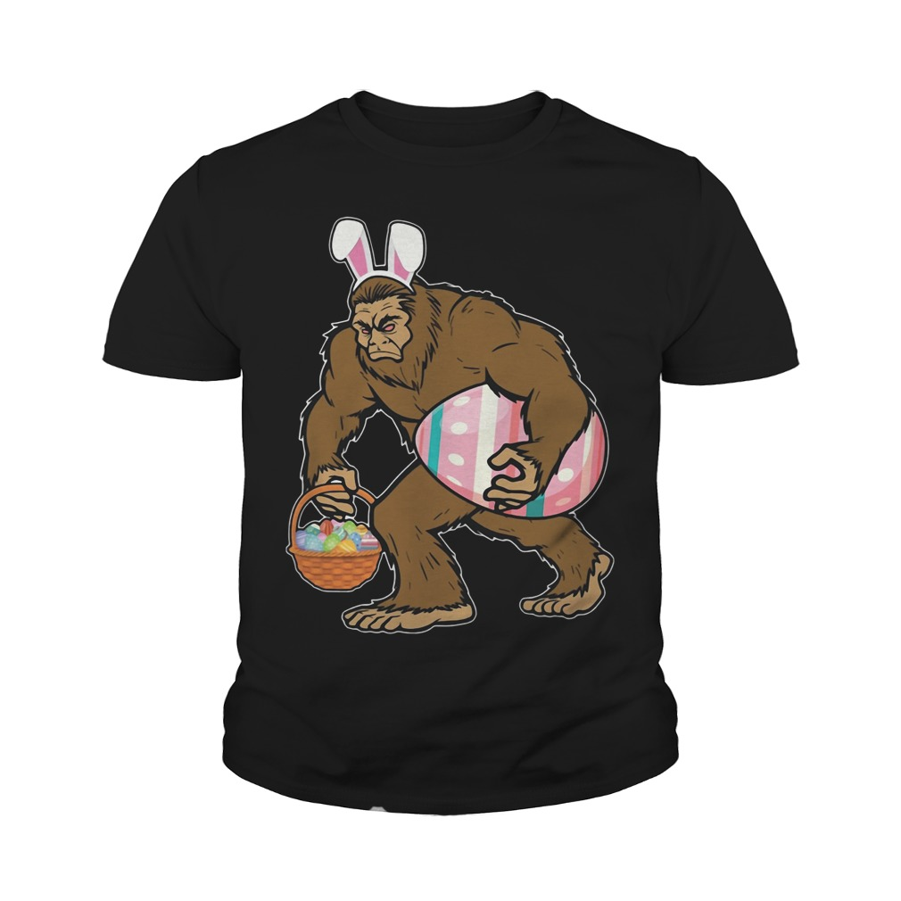 Bigfoot Sasquatch Hunting Easter Eggs Bunny Funny Youth Shirt