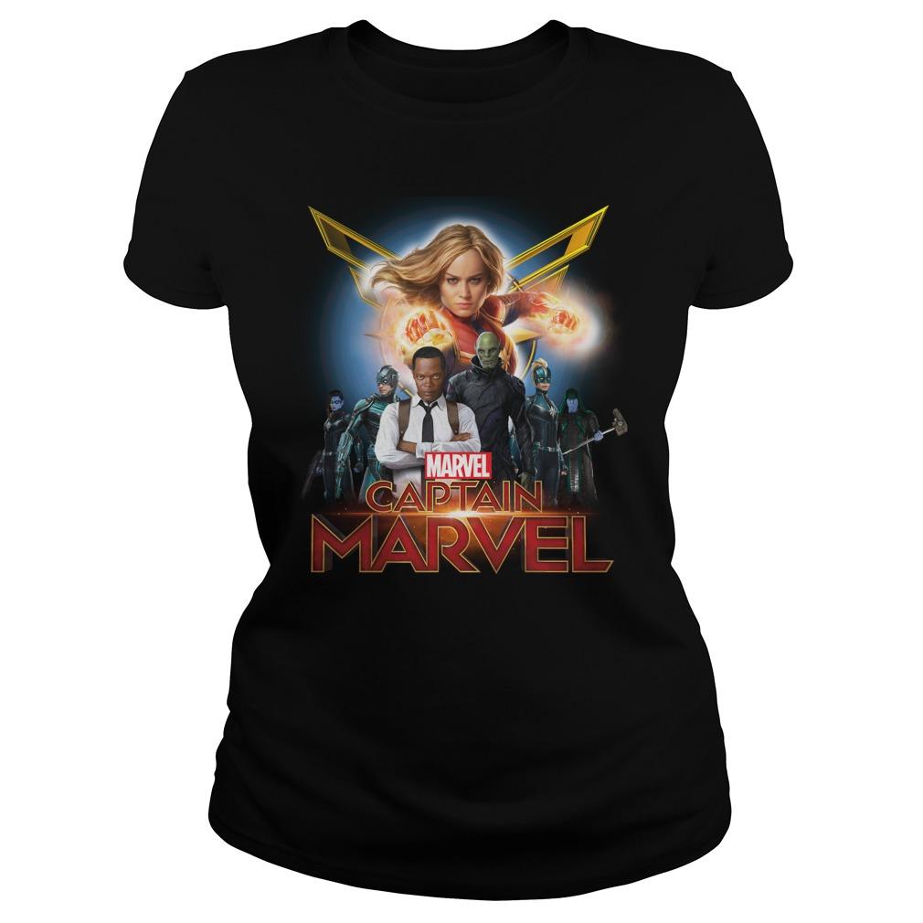Captain Marvel Superhero Group Shot Ladies Shirt