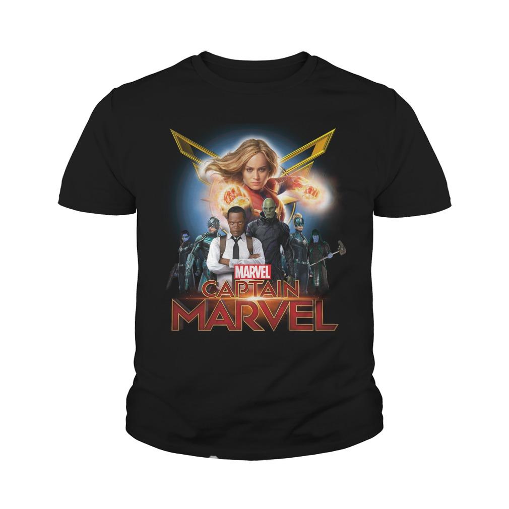 Captain Marvel Superhero Group Shot Youth Shirt