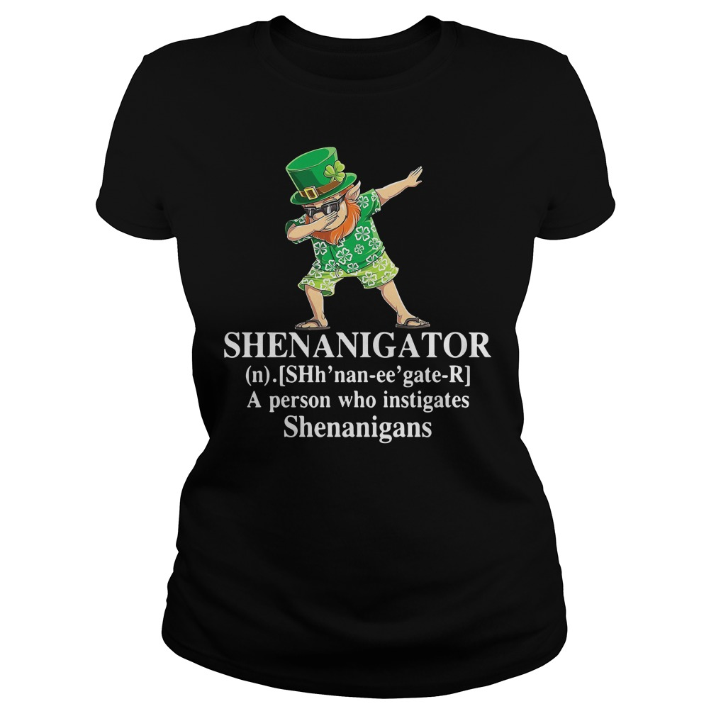 Dabbing Leprechaun Hawaiian Shenanigator A Person Who Instigates Shenanigans Ladies Shirt