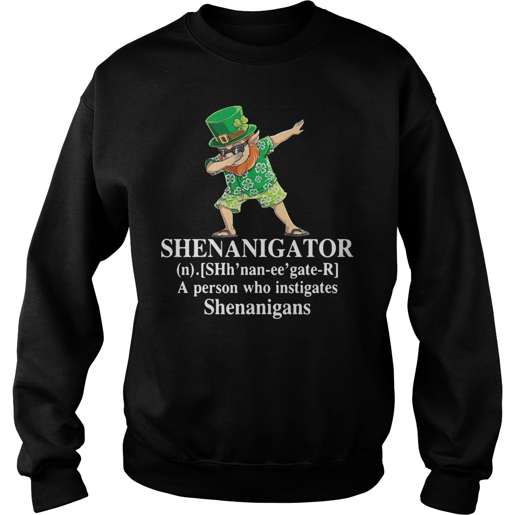 Dabbing Leprechaun Hawaiian Shenanigator A Person Who Instigates Shenanigans Sweater