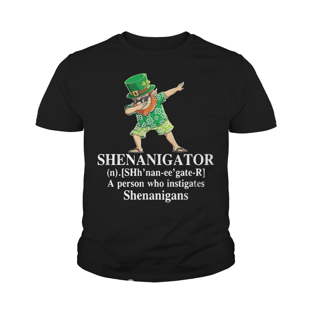 Dabbing Leprechaun Hawaiian Shenanigator A Person Who Instigates Shenanigans Youth Shirt