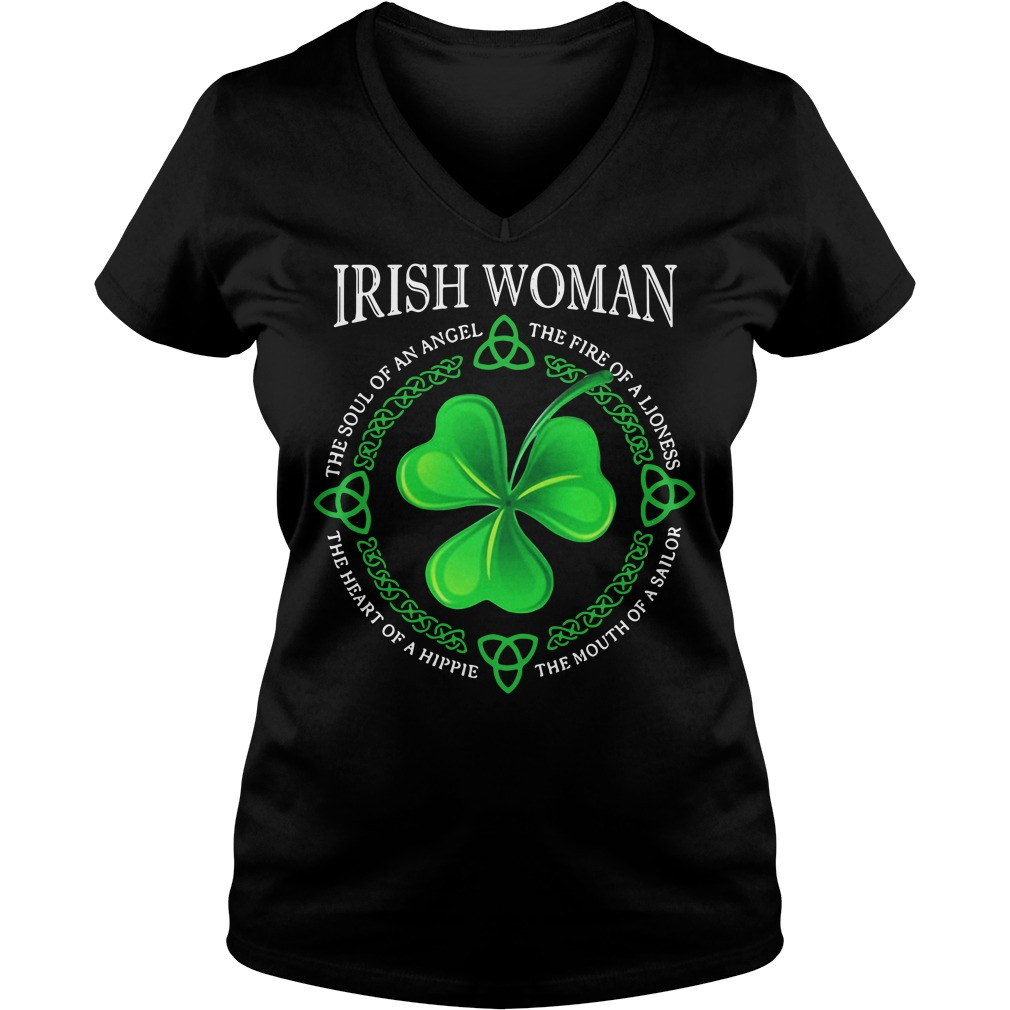 Irish Woman The Soul Of An Angel The Fire Of A Lioness Ladies v neck