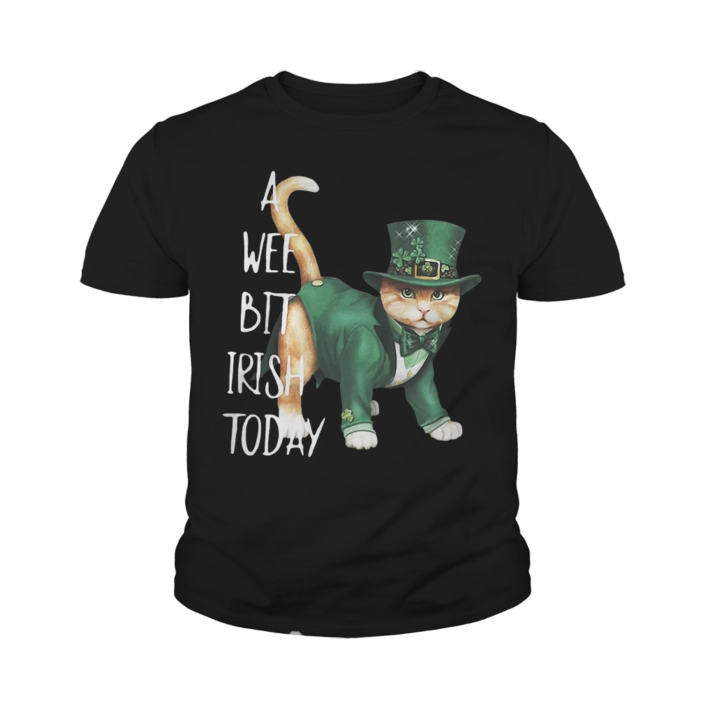 St Patrick's Day Cat A Wee Bit Irish Today Youth Shirt